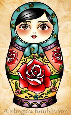 latest matryoshka doll tattoo stencil