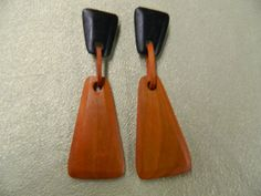 Vintage handmade natural wood clip on earrings by aprilsunrises