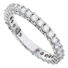14kt White Gold Women's Round Pave-set Diamond Eternity Wedding Anniversary Band 1.00 Cttw - FREE Shipping (US/CAN)