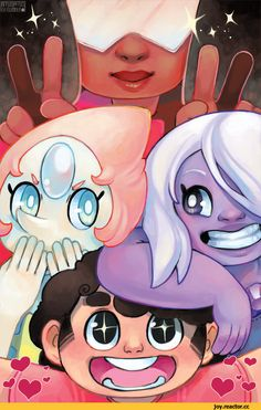 pearl, amethyst and Steven,garnet Universe Love, Universe Art, Cartoon Network Shows, Cartoon Shows, Perla Steven Universe, Chibi, Fanart, Cultura Pop, Anime