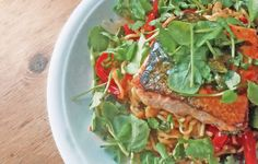 Salmon and Noodles with Sweet Chili and Coriander Butter