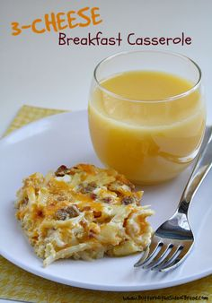 Three Cheese Breakfast Casserole ~ Butter With A Side of Bread #recipe #breakfast