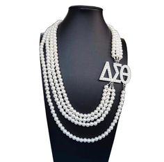 Sweetheart Deal for Valentines Day Delta Sigma Theta Inspired Multi layer Long Pearl Necklace by Mochamane on Etsy Single Pearl Necklace, Long Pearl Necklaces, Unique Necklaces, Chain Necklaces, Pearl Jewelry, Necklace Types, Necklace Lengths, Delta Sigma Theta Gifts, Statement Jewelry