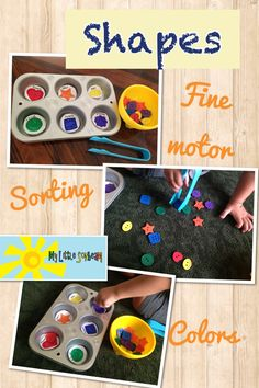 Homeschool preschool activities: shape and color sorting using buttons. Fine motor skills: pincer grasp. Ages 2 - 4 years  www.facebook.com/mylittlesonbeam