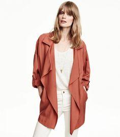 H&M Wide-Cut Coat in Brick Red