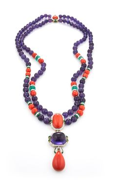 Totem Necklace - Cabochon coral and amethyst, coral, amethyst, and carved emerald beads, brilliant-cut diamonds, green enamel, 18K gold, and platinum
