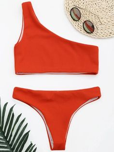 SHARE & Get it FREE | Ribbed Texture One Shoulder Bikini - Red SFor Fashion Lovers only:80,000+ Items • New Arrivals Daily Join Zaful: Get YOUR $50 NOW!