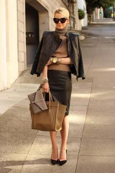 Shop this look for $258:  http://lookastic.com/women/looks/jacket-and-turtleneck-and-pencil-skirt-and-shopper-handbag-and-clutch-and-heels/1854  — Dark Brown Leather Jacket  — Brown Turtleneck  — Dark Brown Pencil Skirt  — Tobacco Leather Tote Bag  — Grey Leather Clutch  — Black Suede Pumps