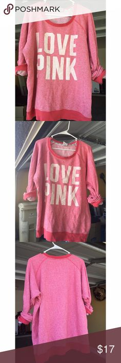 Victoria's Secret PINK terry cloth crew neck Victoria's Secret PINK red-pink terry cloth crew neck! It's been previously worn and loved, so there are a few signs of wear on the lettering but is still so comfy as a lightweight sweater! Would be adorable with leggings (duh!) and comfy converse! Runs generously! PINK Victoria's Secret Sweaters Crew & Scoop Necks