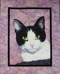 Cat quilt by Ann Mathers.  2016 Workshop, Victoria Quilters' Guild (BC, Canada)