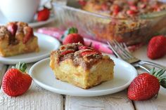 What's better than waking up to eggnog french toast? This baked version can be made the night before so all that needs to be done on Christmas morning is adding the crumb topping and strawberries and then popping this into the oven. How easy is that?