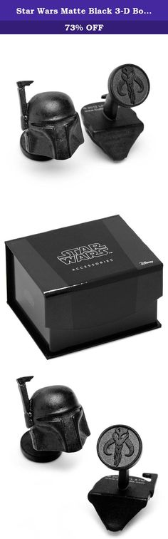 """Star Wars Matte Black 3-D Boba Fett Helmet Cufflinks Novelty 1 x 1in. The Star Wars Matte Black 3-D Boba Fett Helmet Cufflinks from the Star Wars collection and licensed by Lucasfilm are beautifully created and attractive to wear. They are 3/4"""" x 5/8"""" in size, are matte black plated, and come with fixed round logo backings."""