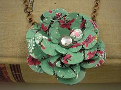recycled Arizona Tea aluminum can rose necklace