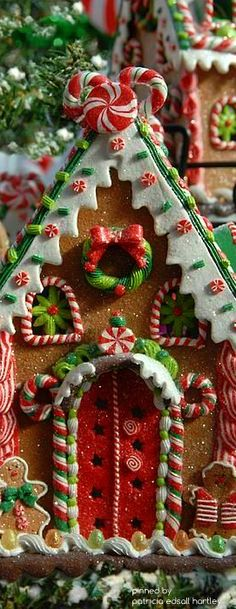 Not real gingerbread, but cute decorating inspiration for making a real gingerbread house