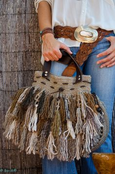lovely boho crocheted bag #crochetbag #crochetpurse