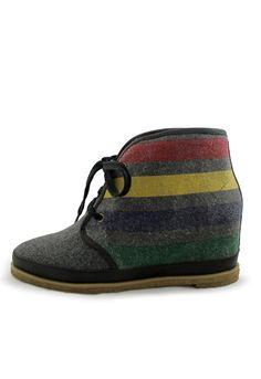 Striped Eliotte Boot In Charcoal.