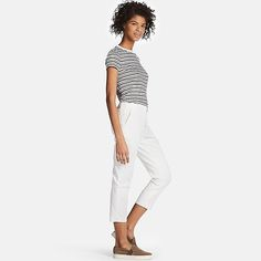 WOMEN DRY STRETCH CROPPED PANTS, OFF WHITE - Uniqulo :: $40