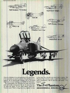 McDonnell-Douglas ad celebrating the Phantom II Airplane Fighter, Fighter Aircraft, Air Fighter, Fighter Jets, Phantom Pilots, Jet Girl, F4 Phantom, Aircraft Pictures, Jet Plane