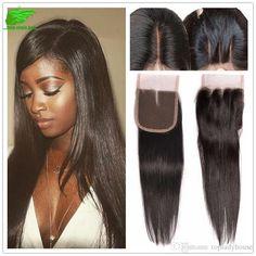 Unprossed Peruvian Human Hair Straight With Closure Straight Hair… Closure Weave, Lace Closure, Smooth Hair, Free Hair, Straight Hairstyles, 4x4, Weaving, Straight Hair, Sleek Hair Updo
