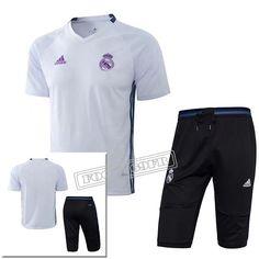 Pre Match: Ensemble Training Real Madrid Blanc + Pantalon Training 3/4 Noir 2016 2017 Nouveau :Foot769Fr