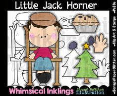 Little Jack Horner Clip Art, BONUS Lineart, Commercial Use, Digital Stamps, Clipart, Black White, Storybook, Nursery Rhyme, Pre K, Daycare, by ResellerClipArt on Etsy