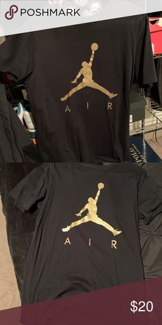 a9218fcc984 Jordan tee shirt. Black and gold Used Jordan shirt. Black and gold. Medium