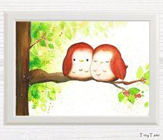 ♥+Spatzen+♥+Kinderbild+-+Print+von+TinyTami+auf+DaWanda.com