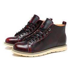 Large Size Vintage Color Match Ankle High Top Leather British Style Boots