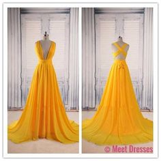 Yellow Prom Dresses,Backless Prom Gown,Open Back Evening Dress,Chiffon Prom Dress,Sexy Evening Gowns,Yellow Formal Dress,Wedding Guest Prom Gowns PD20181565