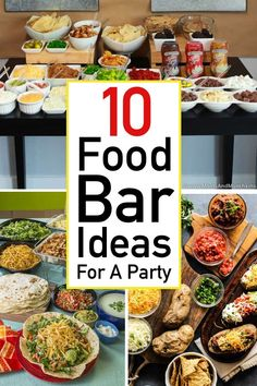 Find filling, flavorful, fan favorite food bar ideas for a party. You'll find build your own party food ideas every guest will love. Party Food Bars, Party Food Buffet, Lunch Buffet, Party Food Themes, Best Party Food, Party Food And Drinks, Snacks Für Party, Lunch Party Ideas, Dinner Party Menu