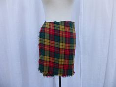 3d841f3a92 Vintage 80s Buchanan Tartan Plaid Fringed Wool Wrap Short Mini Skirt M  Green Red Yellow Check Above-Knee Preppy English Scottish Glam Garb