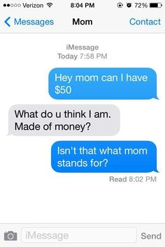 42 Ideas Funny Texts Wrong Number For 2019 Funny Wrong Number Texts, Funny Mom Texts, Funny Texts From Parents, Funny Texts Crush, Funny Text Fails, Funny Text Messages, Funny Teen Posts, Mom Humor, Humor
