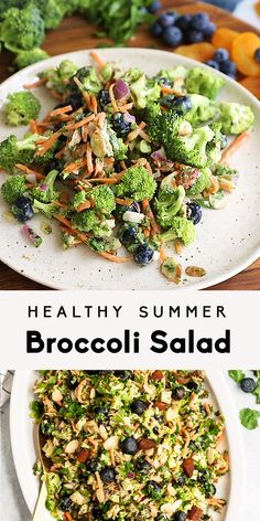 Delicious, healthy broccoli salad recipe made with simple ingredients like fresh blueberries, carrots, sweet dried apricots, almonds and sunflower seeds. This easy, dairy free broccoli salad has no mayo, is tossed in a light tahini dressing, and is perfect for summer parties or meal prep! #mealprep #broccoli #broccolisalad #saladrecipe #vegetarian #vegan #veganrecipe #healthysalad...