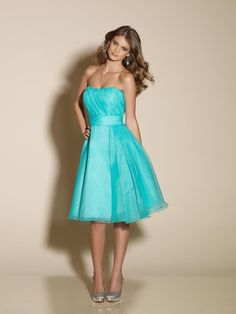 A-line Strapless Ruching Skirt Organza Bridesmaid Dress with a yellow ribbon wrapped around it