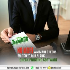 No need to deal with Walmart checks or check orders. Some blank check paper and our check printing software, you will never run out. Order Checks Online, Walmart Checks, Checkbook Register, Check Mail, Check Printing, Blank Check, Writing Software, Quickbooks Online, Cake Recipes