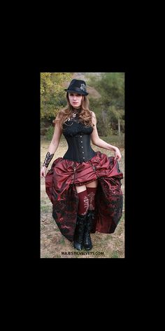 Ready to ship 3PC Black UNDERBUST Heavy Duty Corset with Wine & Black  Damask DOUBLE Bustle Skirt, Steampunk, Victorian, Costume, Dress