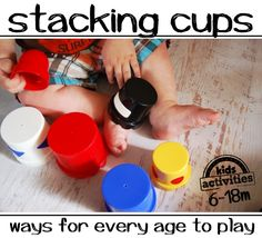 Super fun ways that babies can play and learn with stacking cups.  There is a list of things for kids of all ages to do with cups at Kids Activities Blog.