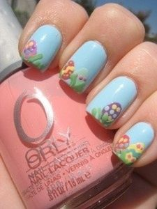 Easter egg nail art, pastel colors