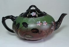 ANTIQUE VICTORIAN JACKFIELD TEAPOT HAND PAINTED BLACK GREEN FLOWERS POTTERY