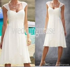 Wholesale cheap beach wedding dresses online, 2014 spring summer - Find best cheap a-line cap sleeve sweetheart pleats empire knee length chiffon custom casual short bridal gown 2014 beach wedding dresses dL1311199 at discount prices from Chinese a-Line wedding dresses supplier on DHgate.com.