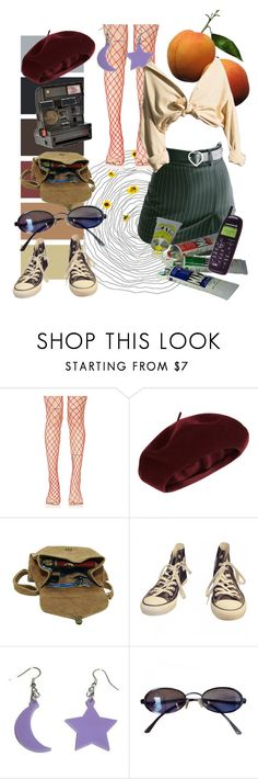 """U N T I T L E D 🍊"" by cluelesspeach ❤ liked on Polyvore featuring Leg Avenue, Accessorize, Maison d'usQ, Converse, Polaroid, Fendi, grunge, 90s and womenswear"