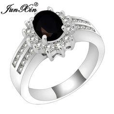 JUNXIN Size 6/7/8/9/10 Fashion Jewelry 925 Silver Filled Finger Rings Black Zircon anillo de la mujer Hot Selling RS0018