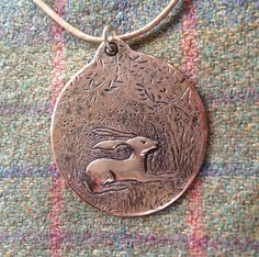 Copper hare pendant...design inspired by Anna Le Moine silver point