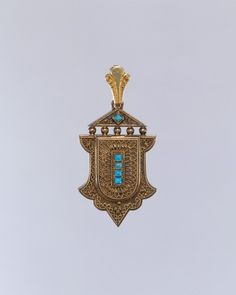 Gold and turquoise locket ca. 1878