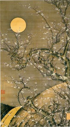 Ito Jakuchu, moonlight white plum, circa1756  伊藤若冲 月夜白梅図 1756年頃
