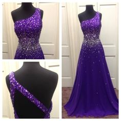 Prom Dress Canada 2015 Purple Prom Dresses Uk Real Pictures Vestidos De Fiesta Sequins Crystals Chiffon A Line Prom Gowns With Open Back And One Shoulder Occasion Wear From Nicedressonline, $199.02| Dhgate.Com