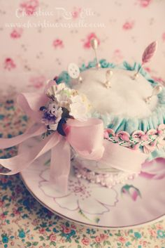 Tea Cup Pincushion by Christine Rose Elle