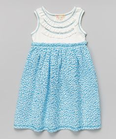 Another great find on #zulily! Blue Leopard Ruffle Babydoll Dress - Toddler by Pink Vanilla #zulilyfinds