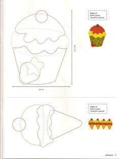 Is forme og cupcake til patchwork Applique Templates, Applique Patterns, Applique Quilts, Felt Patterns, Craft Patterns, Sewing Patterns, Sewing Appliques, Mug Rugs, Paper Piecing