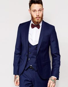 Not the bowtie or the vest, but the suit color is good. Noose & Monkey Navy Flannel Suit In Skinny Fit